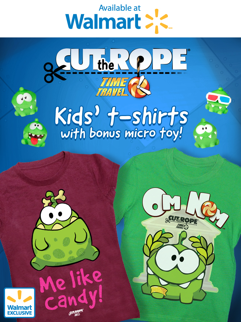 6de35203 Cut the Rope: Time Travel kids' t-shirts at Walmart Canada with bonus micro  toy!